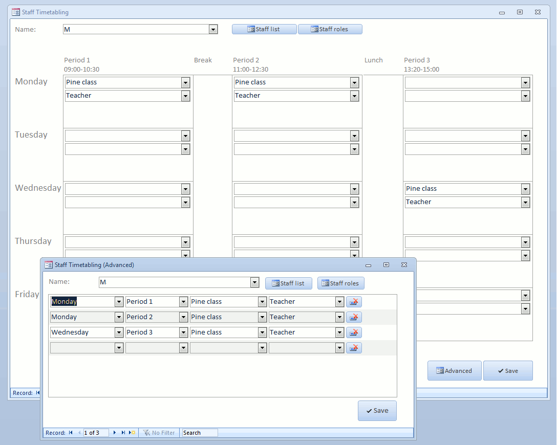 Awyr created timetabling software using Microsoft Access